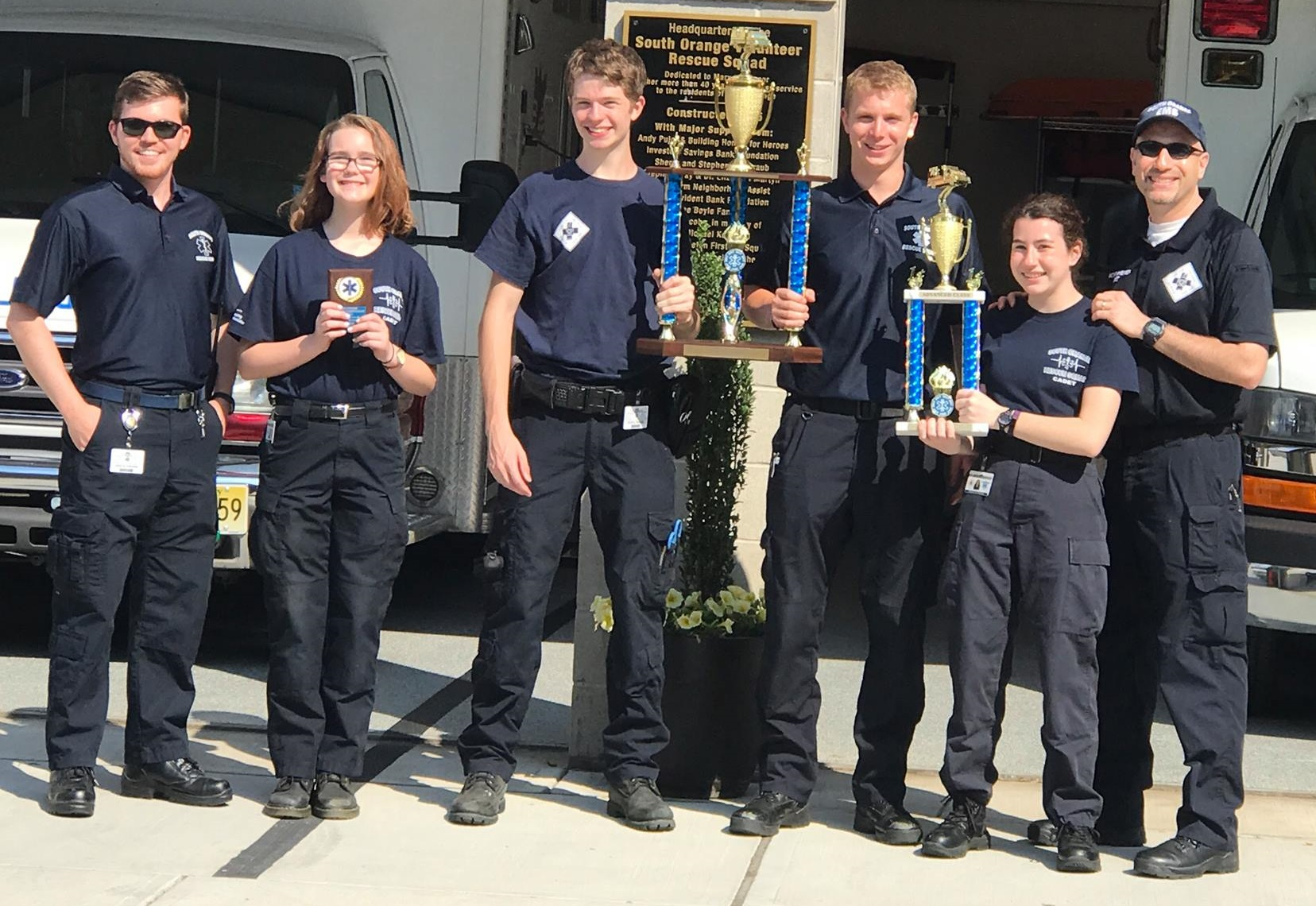 The South Orange Rescue Squad Cadet Team shows off their First Place Advanced Team Trophy and Grand