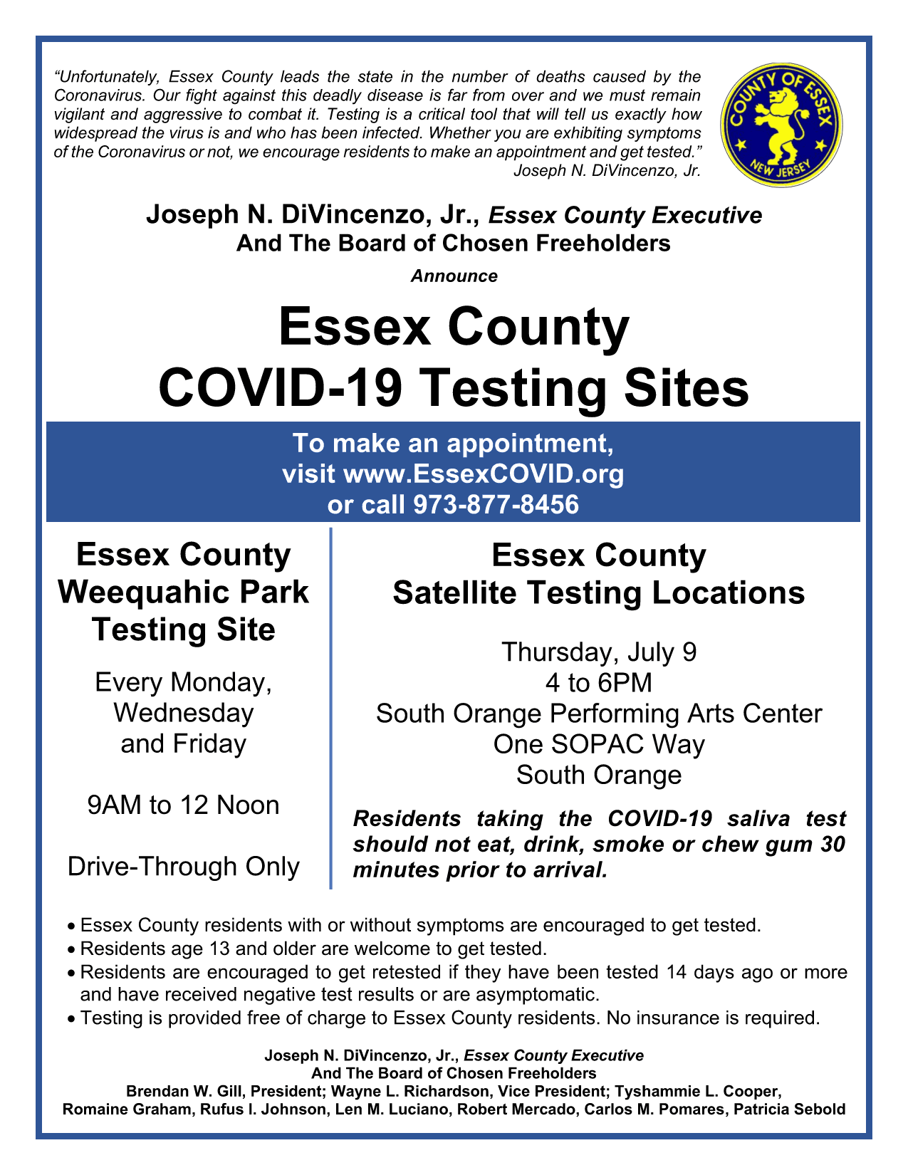 1 dual testing site flier - South Orange English